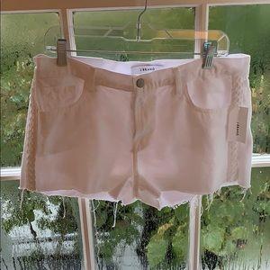 White jean shorts